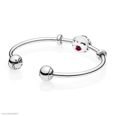 Pandora Sconto Cute Bacio Open Bangle Regalo