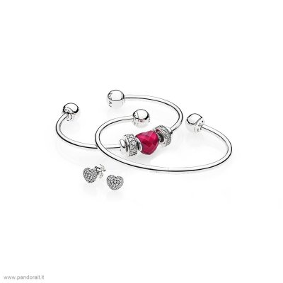 Pandora Sconto Be Mine Stacked Open Bangle Regalo